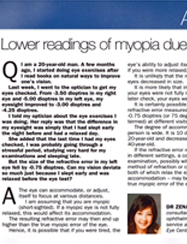 Lower reading of myopia